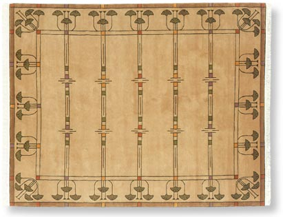 Autumn gingko craftsman style rug for Arts and crafts style rug