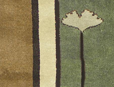 Gingko Motif Arts And Crafts Rug In Green Tones