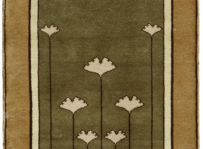 Gingko Motif Arts And Crafts Rug In Green Tones