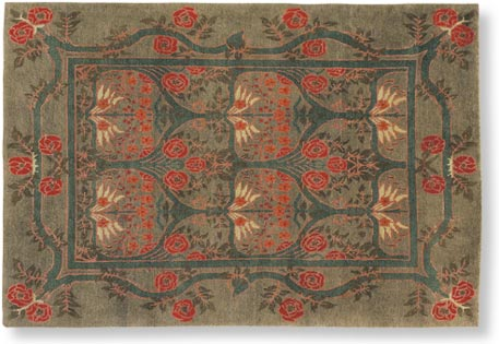 Craftsman Rose Garland Rug Sage