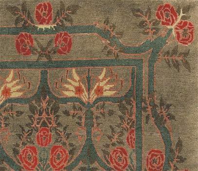Craftsman Rose Garland Rug Sage